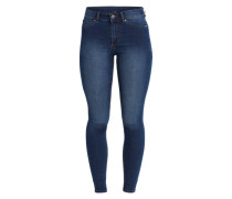 Acid Washed Jeans mit Zippern 'High Spray' blau