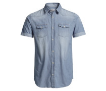 Jeans-Kurzarmhemd blau