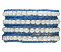 Armband blau / perlweiß