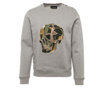 Sweatshirt 'Fleece & Skull Embroidery' mit Totenkopfstickerei