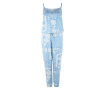 Jumpsuit mit Paisley-Muster blue denim / weiß