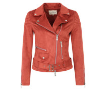 Bikerjacke in Veloursleder-Optik rot