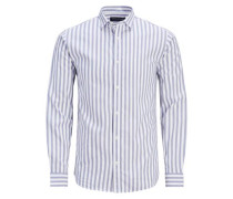 Formelles schmal geschnittenes Langarmhemd blau / weiß