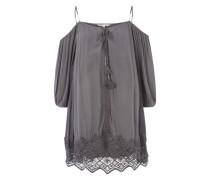 Kleid mit Spitzenbesatz grau