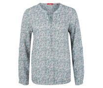 Viskose-Bluse mit Musterprint blau / weiß