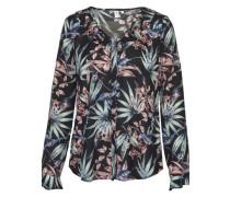 Fashion-Bluse ' Schwarze Rose ' grau