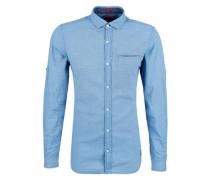 Slim: Hemd mit Strukturkaros hellblau