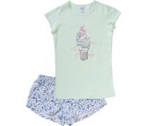 Schlafanzug für Mädchen blau / mint / weiß