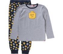 Schlafanzug für Jungen dunkelblau / gelb / graumeliert