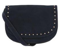 Veloursleder-Tasche mit Nieten blau