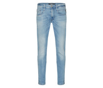 'Anbass' Jeans im Used-Style hellblau