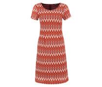 Kleid mit Strickmuster mischfarben / orangerot