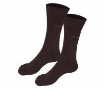 Socken (2 Paar) mit druckfreien Nähten schoko