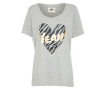 T-Shirt 'Tigerheart' grau / schwarz