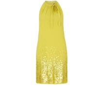 Schulterfreies Kleid mit Pailletten gelb