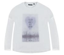 T-Shirt langärmlig Print weiß