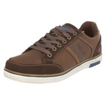 Sneaker in Leder-Optik marine / braun