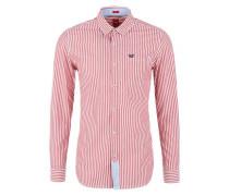 Slim: Hemd mit Webstreifen pink