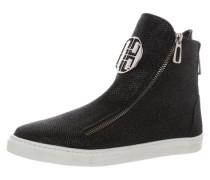 Hohe Sneaker mit Zippern schwarz