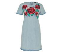 Jeanskleid mit Stickereien hellblau / mischfarben