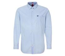 Regular: Hemd mit Webstreifen hellblau