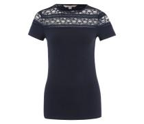 T-Shirt mit Spitzeneinsatz blau