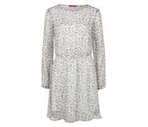 Crêpe-Kleid mit Allover-Print weiß