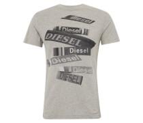 T-Shirt 't-Diego-Qd' mit Front-Print hellgrau / schwarz / weiß