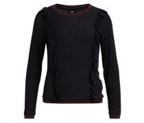 Rüschendetail-Pullover schwarz