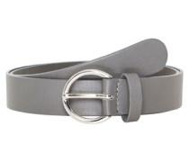 Ledergürtel mit runder Schließe grau