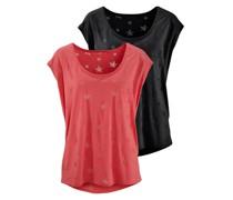 T-Shirts (2 Stück) koralle / schwarz