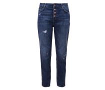 Girlfriend Ankle: Destroyed-Jeans blue denim