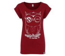 T-Shirt 'Skateowl 2' karminrot / weiß