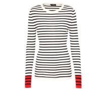 Pullover aus reiner Wolle rot / schwarz / weiß
