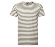 T-Shirt 'brokenstripe' grau / oliv