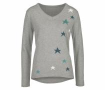 V-Ausschnitt-Pullover blau / graumeliert / weiß