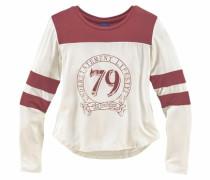 Langarmshirt mit kontrastfarbenem Einsatz rot / weiß