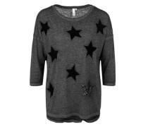 Shirt mit Sternen-Patches schwarz / schwarzmeliert