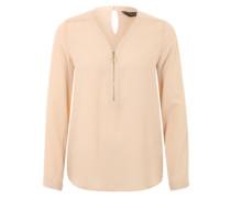 Tunika-Bluse mit Zipper beige