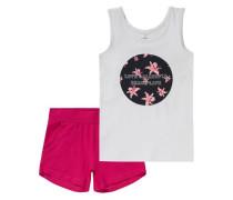 Set Top + Shorts 'nitzoliday' für Mädchen Organic Cotton dunkelpink / weiß