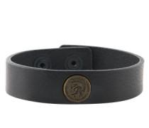 Leder-Armband mit Logo-Emblem 'A-Shoot' schwarz
