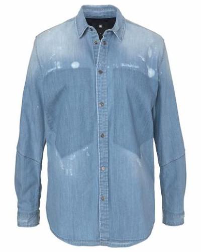 'Modern Arc 3D' Jeansbluse blau