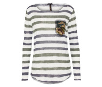 Streifen Shirt 'wls Jessy round' mischfarben / weiß