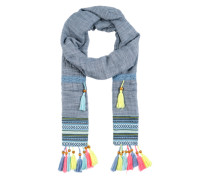 Schal mit Quasten blau