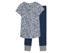 Schlafanzug 'Carla Cas' navy / weiß