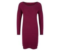 Geripptes Kleid mit Kontrast-Details dunkelpink