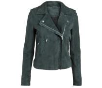 Wildleder-Biker-Jacke dunkelgrün