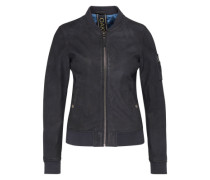 Jacke in Leder-Optik 'Object Nubuk' braun