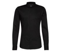 Slim-Fit-Hemd mit Stehkragen 'Ole' schwarz