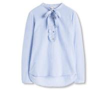 Bluse mit Schluppe blau
